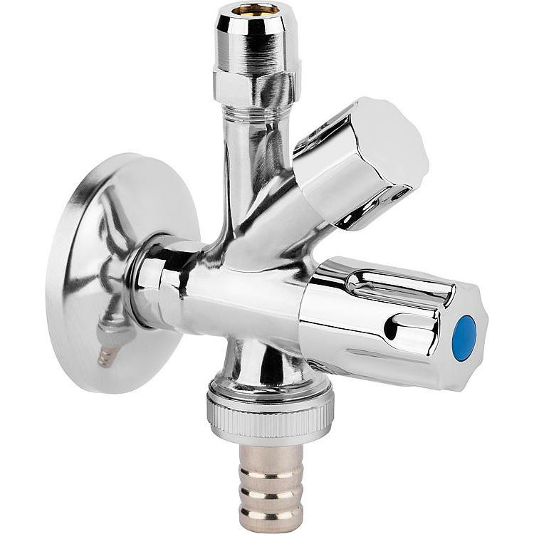 Geräteanschluß-Ventil Kombi-Eck poliert 1/2x10