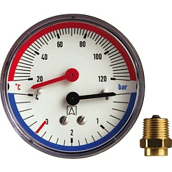 "Thermomanometer TM 80 80 mm durch, R 1/2"", 0-4 bar"